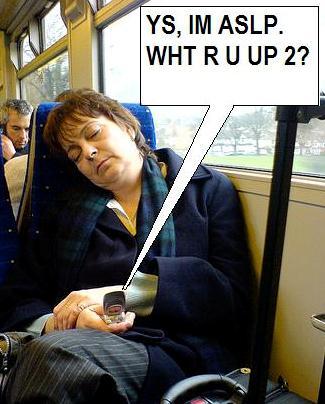 Woman Texting While Asleep